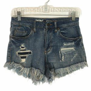 Mossimo High Rise Super Stretch Shorts Distressed